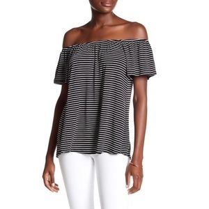 Off the shoulder black and white striped top